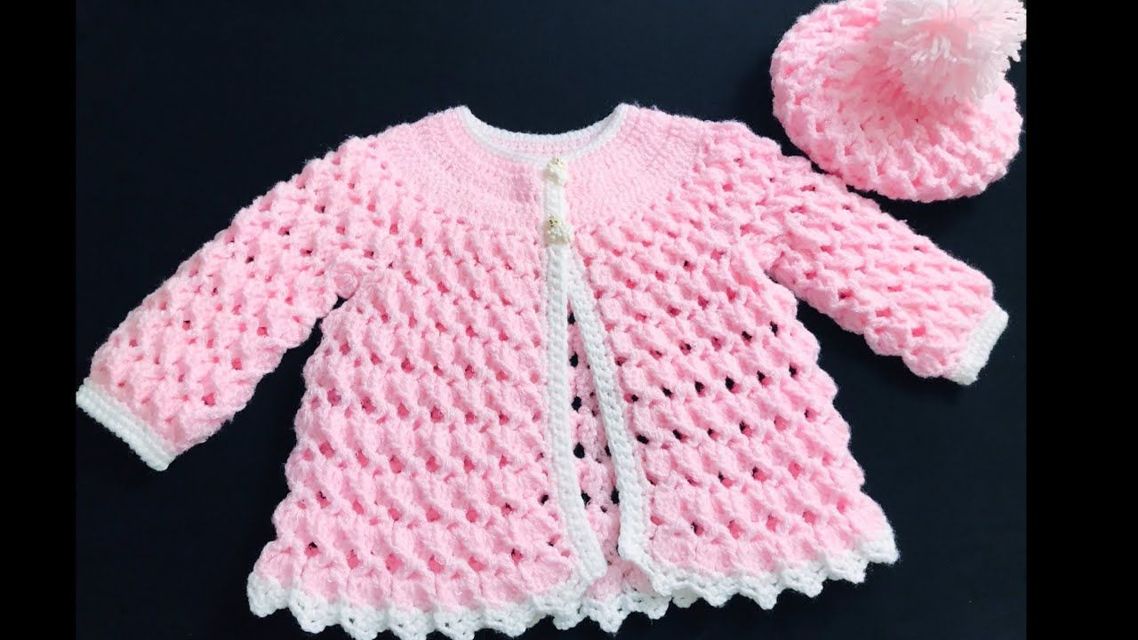 Crochet Baby Sweater Jacket & Crochet Baby Hat Set EASY NB to 6yrs, How to crochet, Crochet for Baby