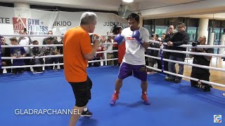 Open Media Training - Manny Pacquiao hits the pads with Freddie Roach in Brisbane #PacHorn