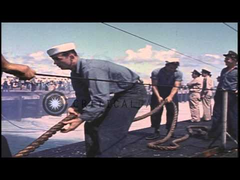 US Navy personnel aboard USS Sea dog arrive at the Midway Islands in the Pacific ...HD Stock Footage