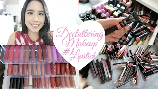DECLUTTER MY MAKEUP COLLECTION + GIVEAWAY 2017! EPISODE #1 LIPSTICKS