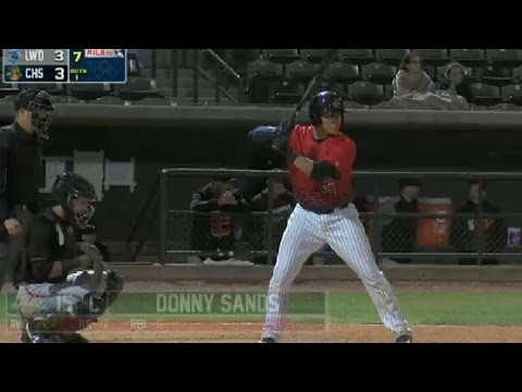 RiverDogs' Donny Sands rips an RBI single