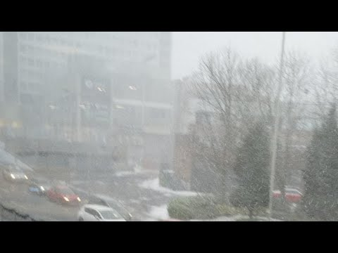 Heavy SNOW and Wind In PRESTON Lancashire UK
