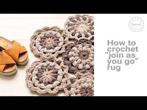 En Version Join As You Go Crochet Flower Rug Youtube