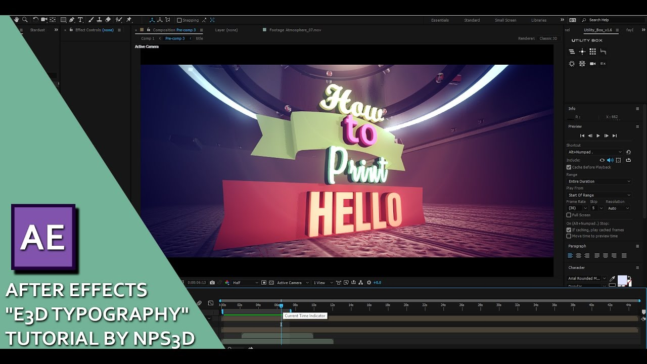 AFTER EFFECTS 'E3D TYPOGRAPHY' TUTORIAL BY NPS3D