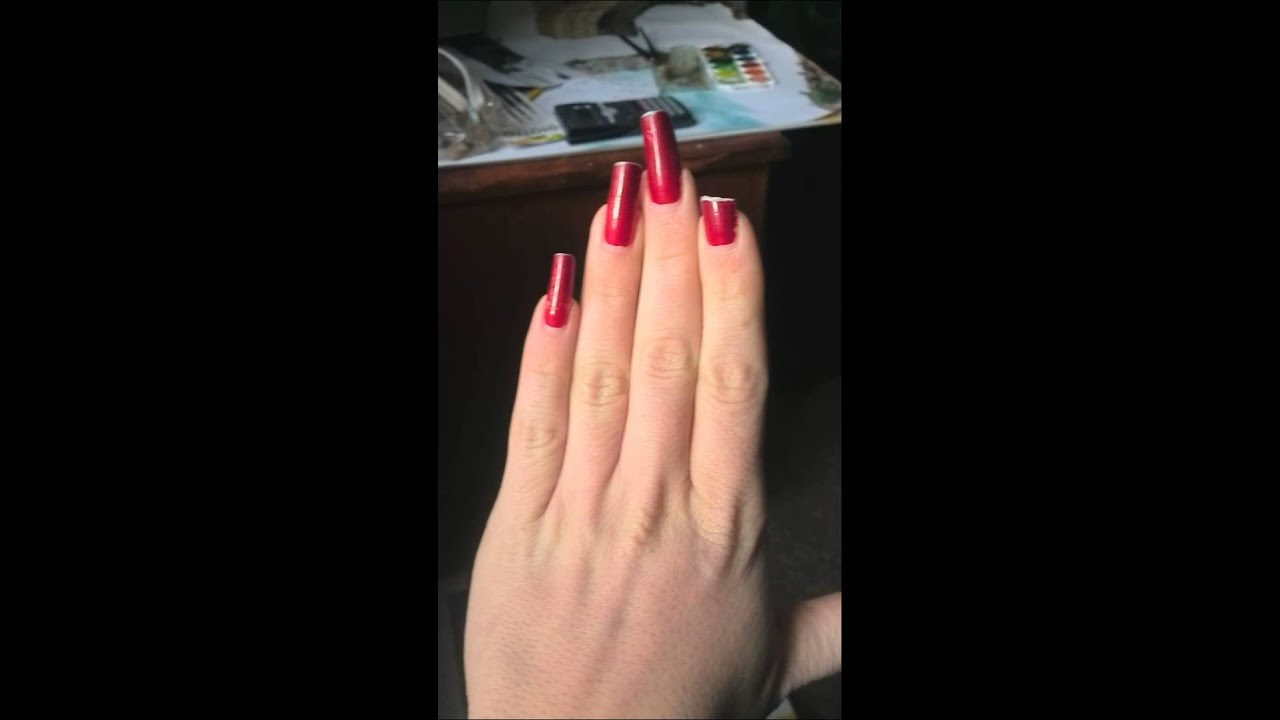 Our hand model laire presenting her long red nails (video 1) - YouTube