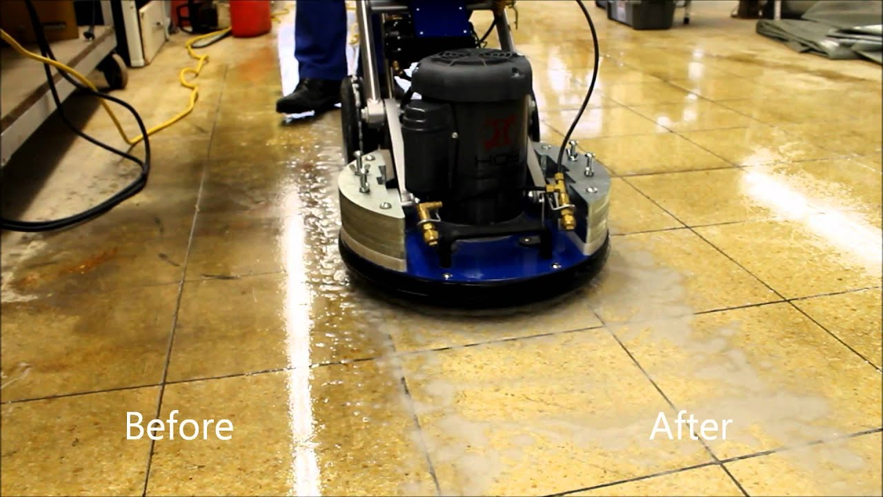Orbot Removing Stone Floor Lippage And Oil Stains Youtube