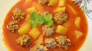 Фрикадельки в томатном соусе. Sulu köfte