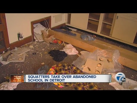 Squatters take over abandoned school in Detroit