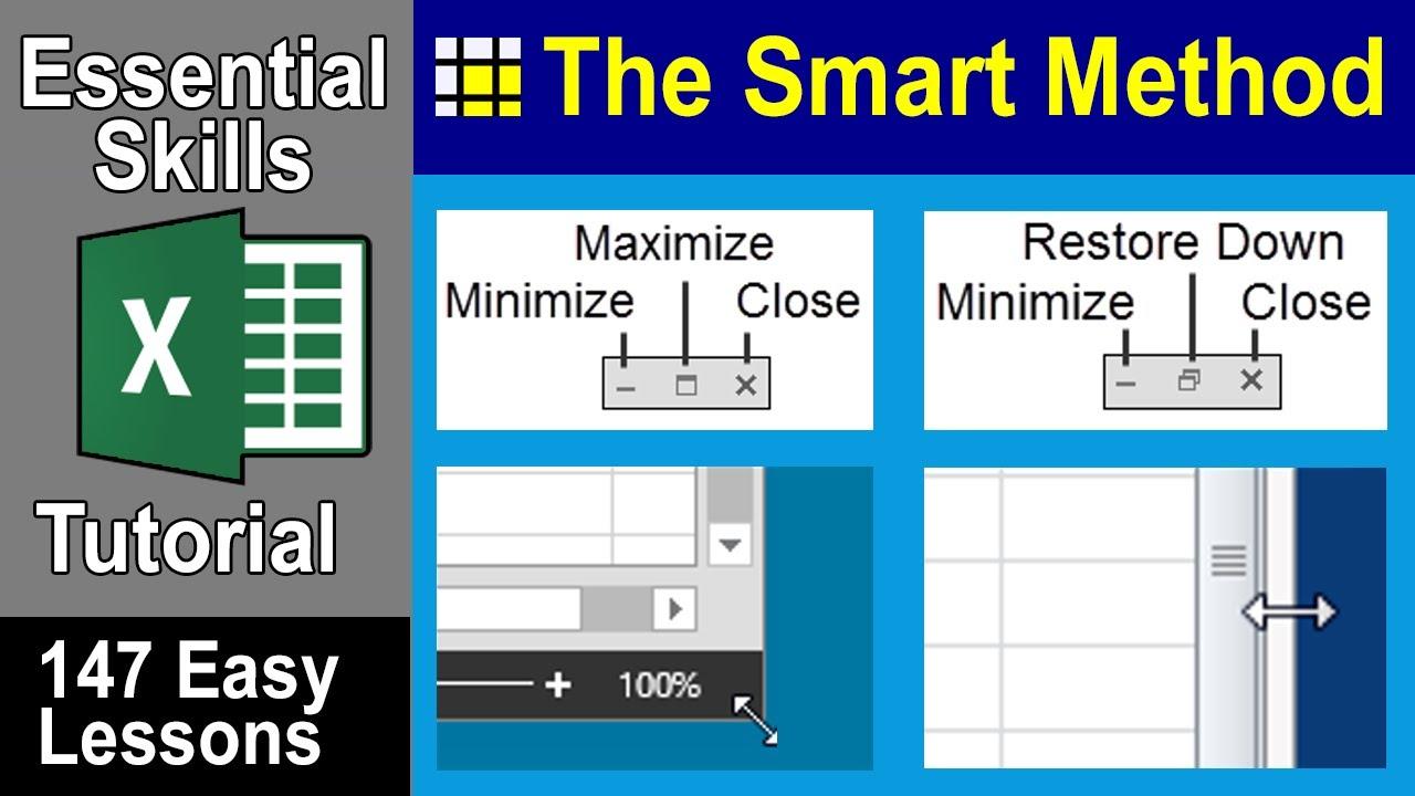 excel tutorial  maximize  minimize  resize  move or close