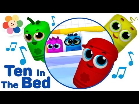 Ten in The Bed 3D Nursery Rhymes Song - Color Crew Babies | 3D Rhymes for Children | BabyFirst