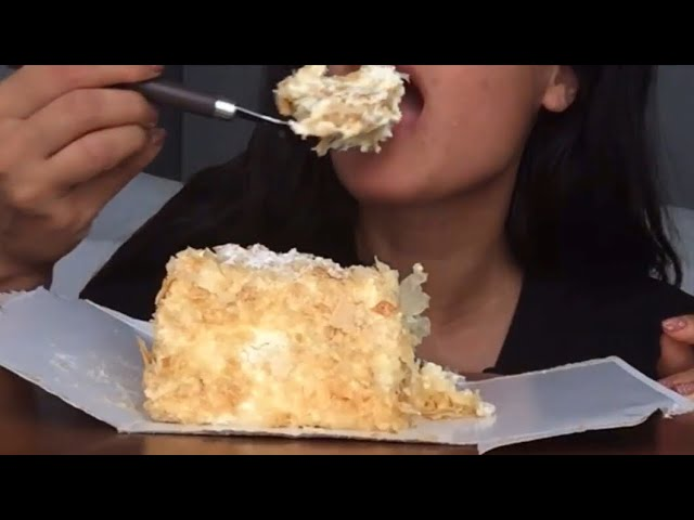 Eating Fluffy Creamy Napoleon Cake Eating Sounds Asmr Eating Show
