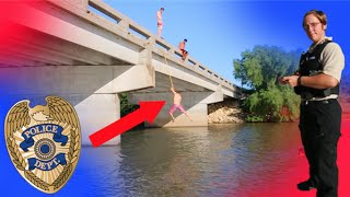INSANE BRIDGE ROPE SWING! (COPS COME)