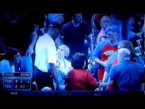 Fans Fight over Baseball Bat - Texas Rangers Vs Toronto Blue Jays - 5/17/14