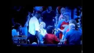 Fans Fight over Baseball Bat - Texas Rangers Vs Toronto Blue Jays - 5/17/14
