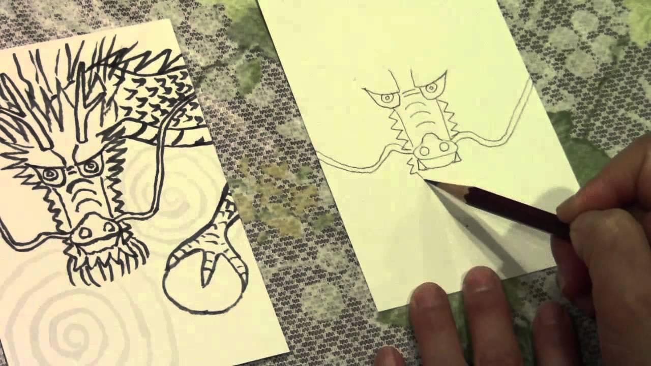 動画で絵手紙龍の描き方 Youtube