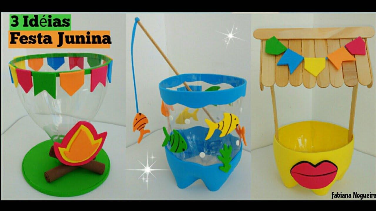 3 Ideias com Garrafa Pet para Festa Junina #FestajuninaDiy You -> Decoração De São João Com Material Reciclado