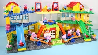 Peppa Pig Lego House Creations With Water Slide Toys For Kids
