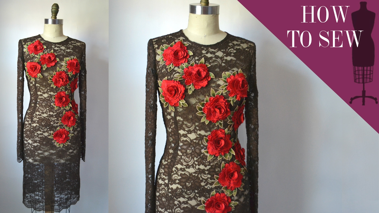 How to sew a lace flower applique sheath dress youtube