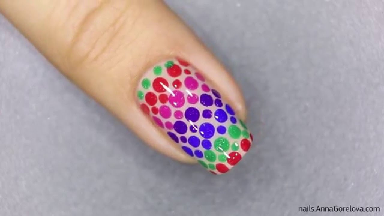 Rainbow Dots Nail Design With Dotter And Thermo Top Coats From Bow Polish