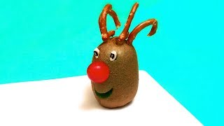 How to Make a Red-Nosed Reindeer with a Kiwi  DIY Christmas, Tutorial, Food Art