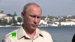 Владимир Путин поделился впечатлениями от спуска на дно Черного моря(Президент России Владимир Путин рассказал о своих впечатления от спуска на дно Черного моря на батискафе...., 2015-08-18T14:16:16.000Z)