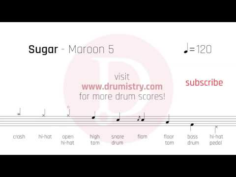 Maroon 5 - Sugar Drum Score