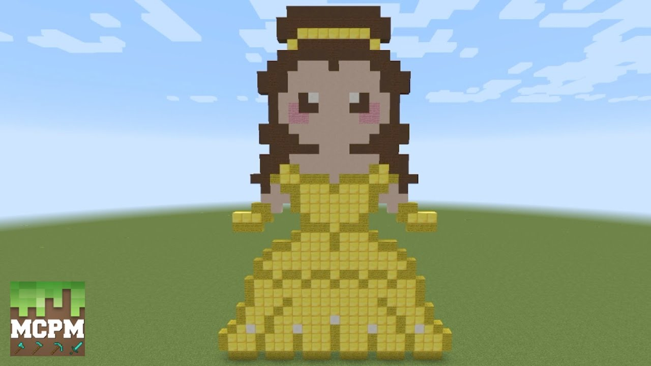 How To Build Belle From Beauty And The Beast Movie Pixel Art In Minecraft