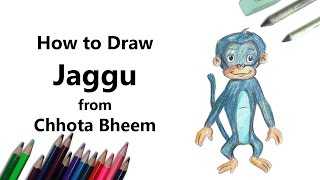 How to Draw Jaggu from Chhota Bheem with Color Pencils [Time Lapse]
