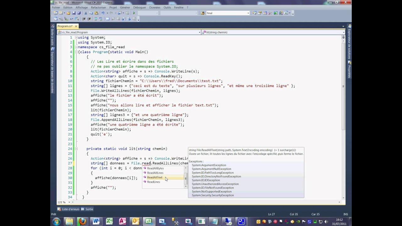 Tutoriel 35 Read et Write en C# en français deuxième partie