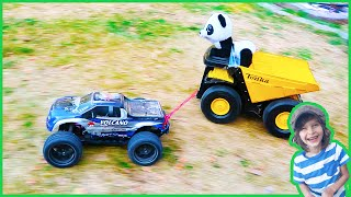 RC Cars Race Towing Toy Dump Trucks