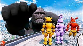 BUFF ANIMATRONICS vs EVIL GIANT KING KONG! (GTA 5 Mods For Kids FNAF RedHatter)