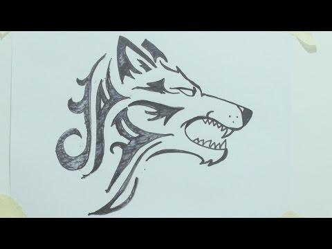 how-to-draw-a-tribal-wolf-head-tattoo-رسم-ذئب-#1