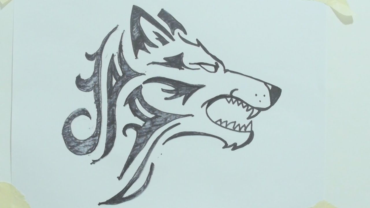 how to draw a tribal wolf head tattoo 1 youtube