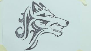 How to draw a tribal wolf head tattoo رسم ذئب #1