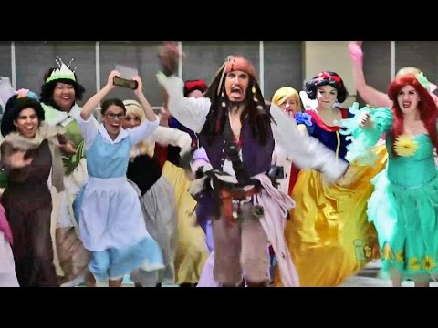Jack Sparrow runs from Disney Princesses at huge Disney ...