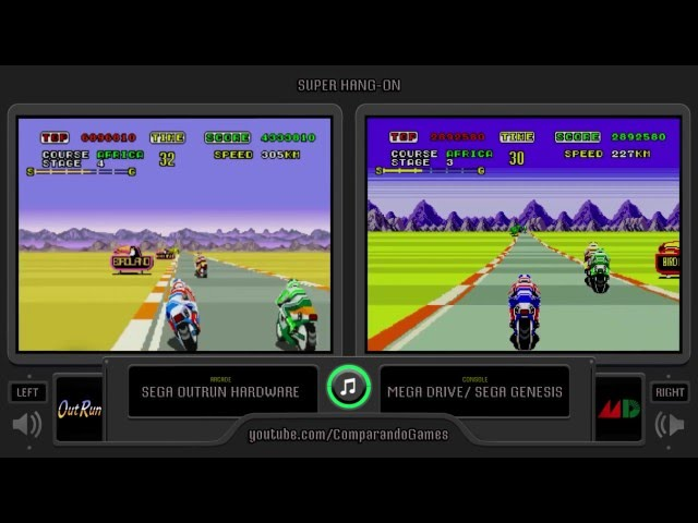 Super Hang-On (Arcade vs Sega Genesis) Side by Side Comparison (Arcade vs Mega Drive)