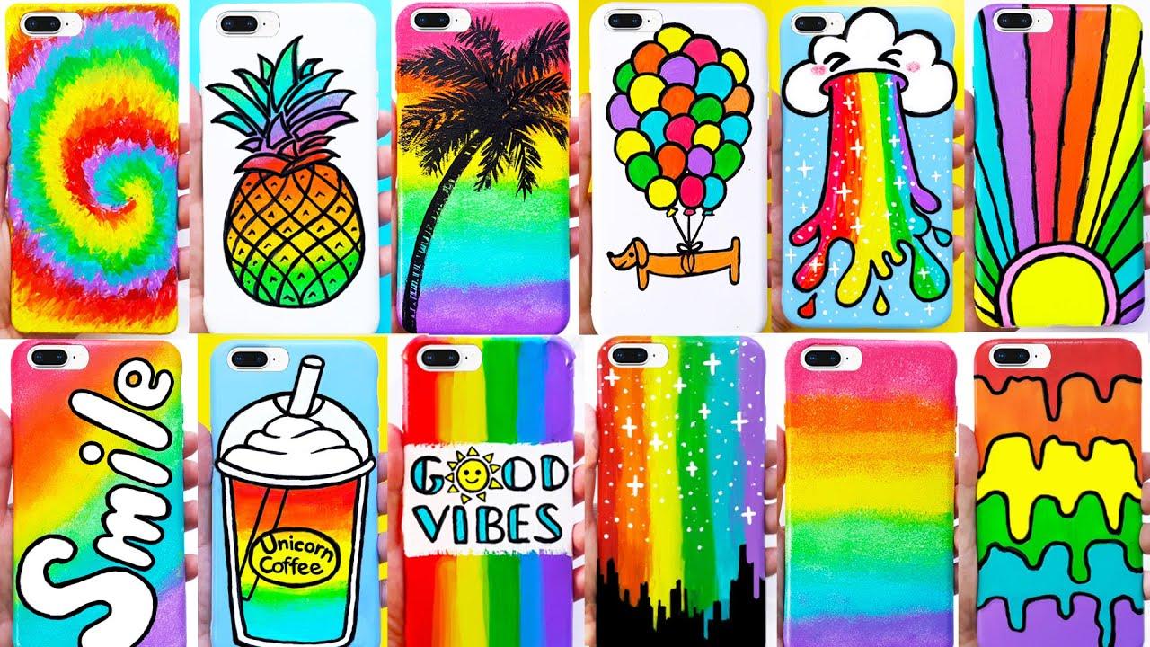 DIY RAINBOW PHONE CASES | Customizing Phone Cases (Summer-inspired)