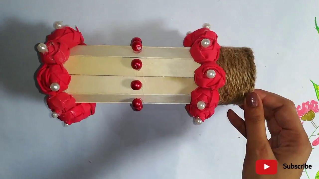 DIY holder with icecream sticks | Handicraft | diy popsicle stick crafts