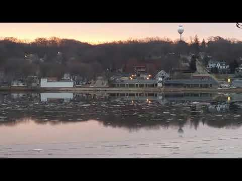 Ice Flow on Mississippi River Le Claire Iowa