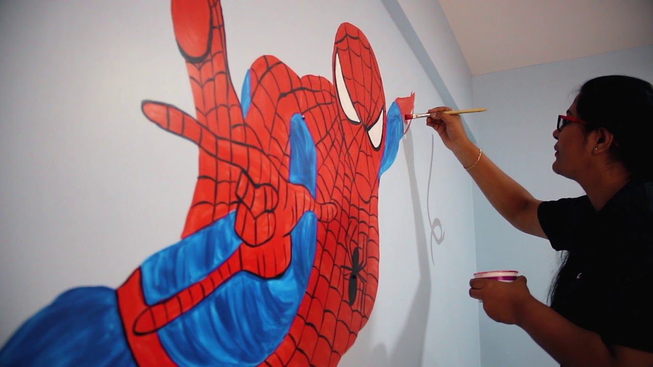 Spiderman Wall Painting Kids Room Decorating Idea Aapkapainter