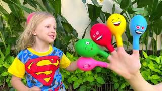 Daddy finger Nursery Rhymes Jugar con Globos con Alex y Nastya - Canciones Infantiles