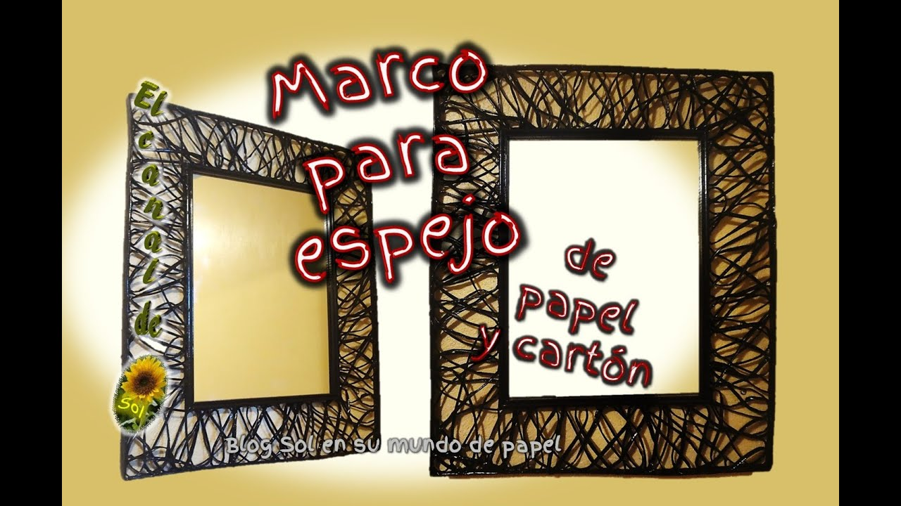 Marco para espejo de papel y cart n mirror frame for - Colgar espejo pared sin marco ...