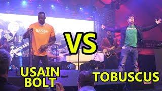 Usain Bolt VS. Tobuscus (CES 2018 w/ Gibson)