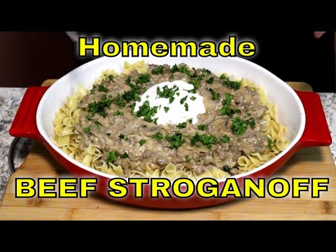 Ground Beef Stroganoff! (Over Extra Wide Egg Noodles)