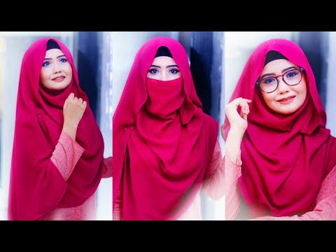Hijab and Niqab tutorial with Glasses ||Viscose hijab || SanjiDa