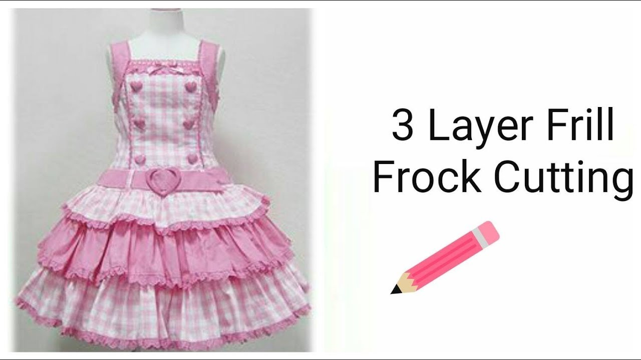 5d9fc3bca Stylish 3 Layers Frill Frock For Girls Cutting - YouTube