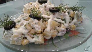 Ананасовый салат с куриной грудкой и кукурузой