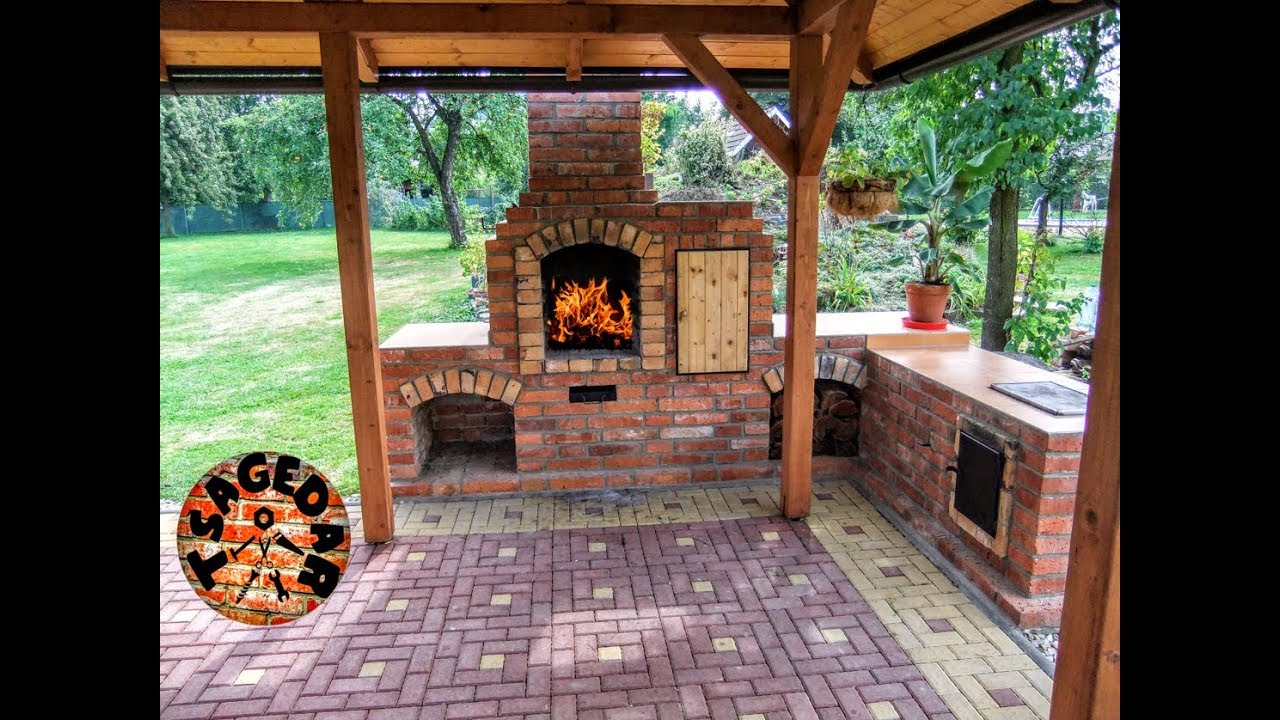 DIY building outdoor fireplace with smoker and grill & BBQ ...