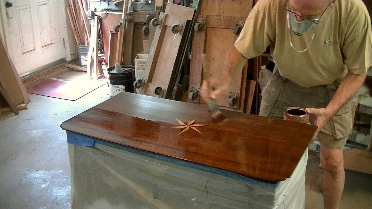 Refinishing A Compass Inlay Table Top   Thomas Johnson Antique Furniture  Restoration
