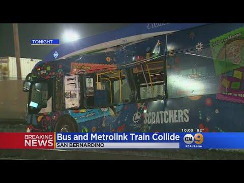 Bus And Metrolink Train Collide In San Bernardino